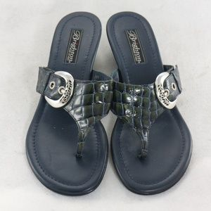 New BRIGHTON Lark Croc Embossed Thong Sandals